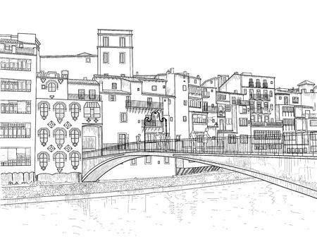 Sketch of Gomez Bridge in Girona