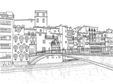 Sketch of Gomez Bridge in Girona