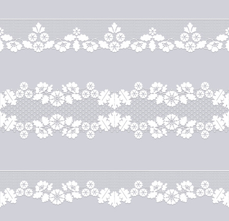 Set of white lace borders isolated on a dray background Stock Illustratie
