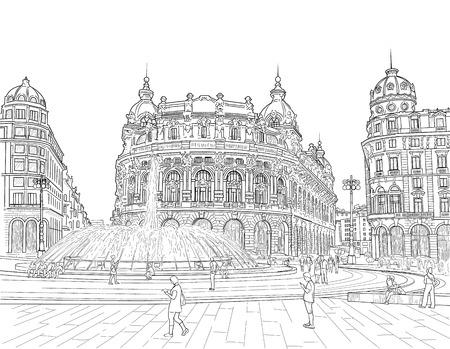 Sketch of the Ferrari square, Italy Illustration