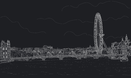 sketch a panorama of London with a Ferris wheel and the Westminster Bridge. Painted with chalk on black