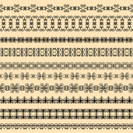Set of black borders on a beige background Archivio Fotografico - 127702247
