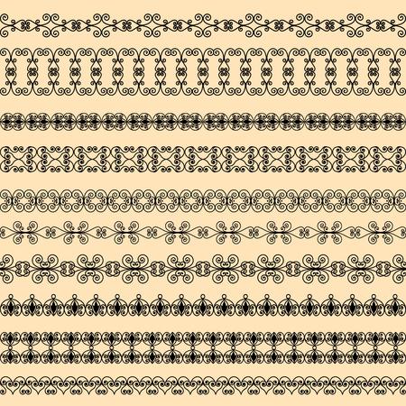 Set of black borders on a beige background Illustration