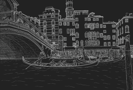 Sketch of gondoliers with clients on board on the Grand Canal near Rialto Bridge in Italy. Painted with chalk on black
