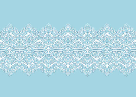 white lace ribbon with shadow on blue background