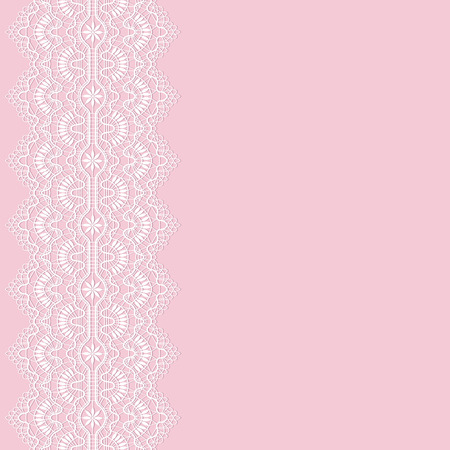 white lace border on a pink background