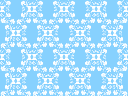 white seamless floral pattern on a blue background