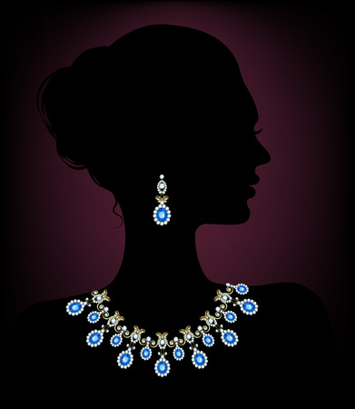 Silhouette of a woman with a diamond necklace and earrings Illustration