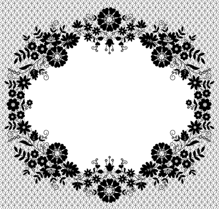 White lace frame on a pink background with space for text