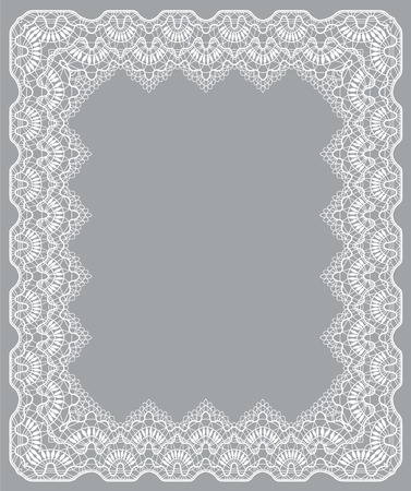 Elegant white lace frame on a gray background Archivio Fotografico - 127272761