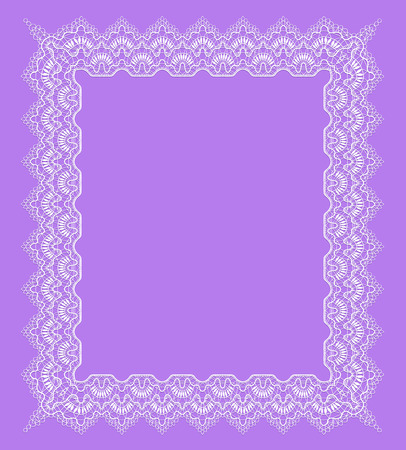 vintage white lace frame on a purple background Archivio Fotografico - 127272765
