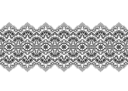 Black lace border on a white background