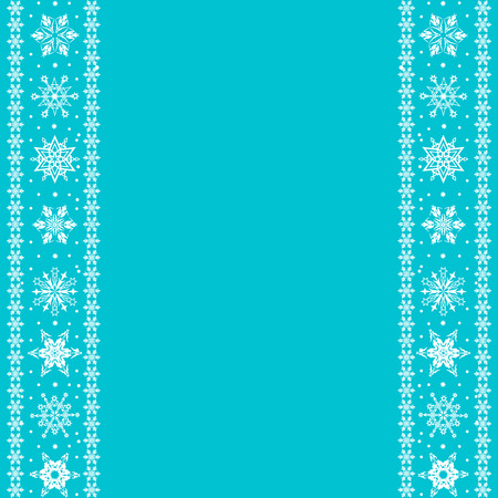 Christmas border from snowflakes on a blue background with space for text