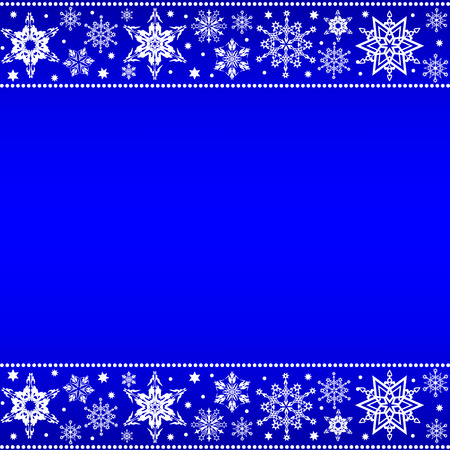 Christmas border from snowflakes on a blue background with space for text Archivio Fotografico - 127142633