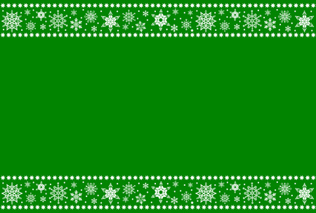 Christmas borders from snowflakes on a green background with space for text