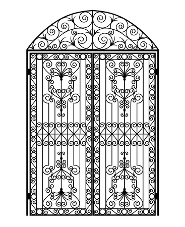 arched metal gate with forged ornaments on a white background Vettoriali