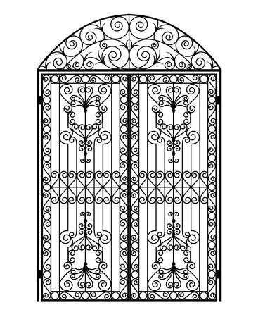 Puerta metálica arqueada con adornos forjados sobre un fondo blanco.