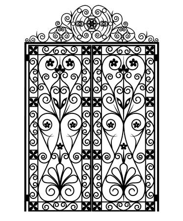 Schwarzes Tor mit Ornamenten auf weißem Hintergrund