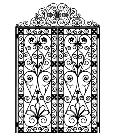 Black gate with ornaments on a white background