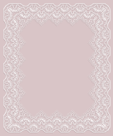 Elegant white lace frame on a pink background