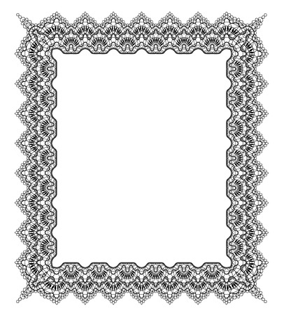 Elegant black lace frame on a white background 일러스트