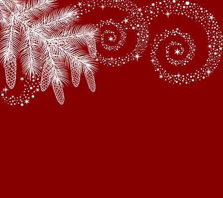 Christmas card with fir branch and place for text