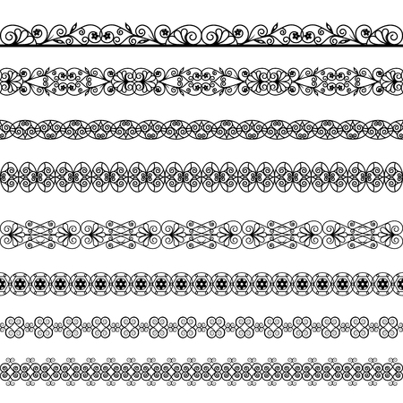 Set of black borders on a white background
