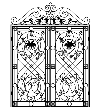 Czarna metalowa brama z kutymi ornamentami na białym tle