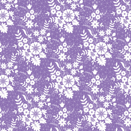 seamless lace with floral pattern on a lilac background