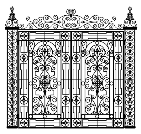 Puerta de metal negro con adornos forjados sobre un fondo blanco. Ilustración de vector