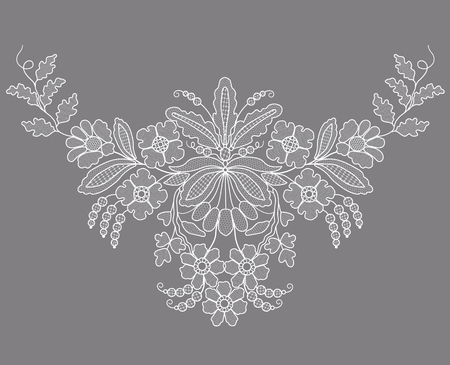Biała koronka kwiatowy element na szarym tle