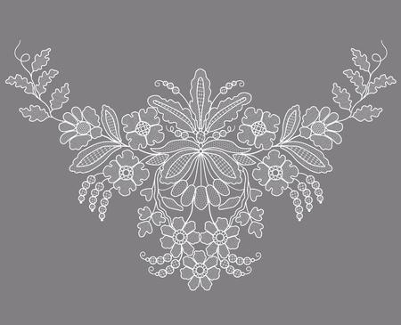 Elemento floral de encaje blanco sobre fondo gris