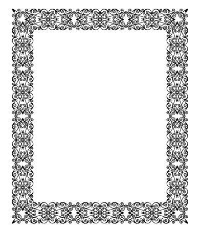 Elegant black lace frame on a white background Ilustracja