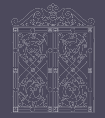 white metal gate with forged ornaments on a dark background Vector Illustratie