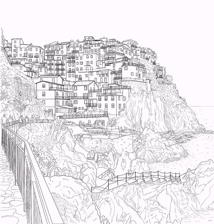 pen drawing of the ligurian coast of Italy