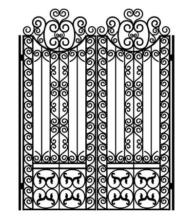 Porte en métal noir avec des ornements forgés sur fond blanc