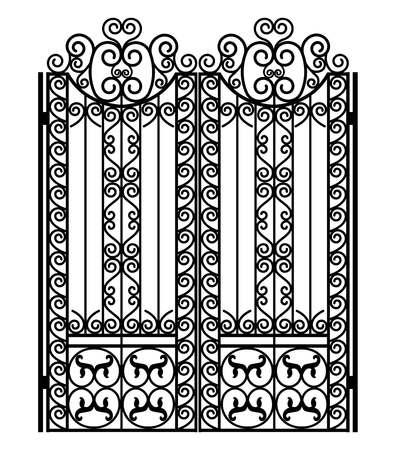 Puerta de metal negro con adornos forjados sobre un fondo blanco.