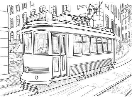 drawing of a tram on a narrow street of lisbon