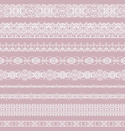 Ensemble de bordures blanches sur fond rose