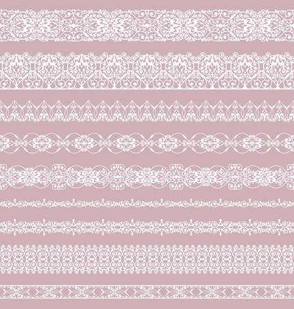 Set of white borders on a pink background
