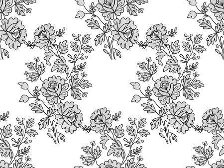 Seamless black floral lace on white background