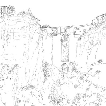 drawing of a stone bridge over the gorge of El Tahoe in the city of Ronda. Spain