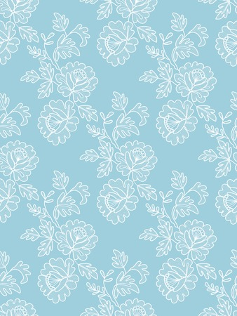Seamless black floral lace on a blue background Çizim