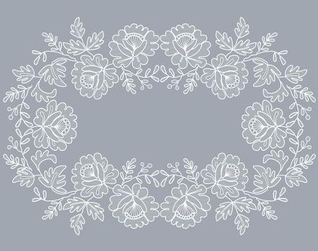 biała koronkowa ramka z kwiatowym ornamentem na szarym tle Ilustracje wektorowe