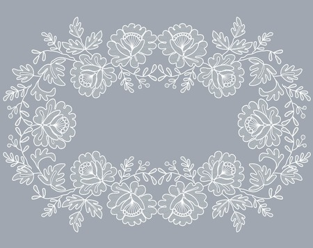 white lace frame with a floral ornament on a gray background Çizim