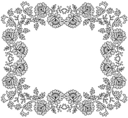 black lace frame with a floral ornament on a white background
