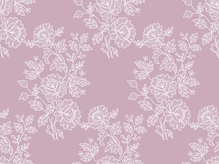 white floral lace pattern on a pink background Çizim