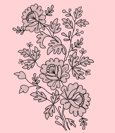 Black lace floral element on a pink background
