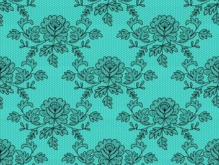 Seamless black floral lace on a turquoise background
