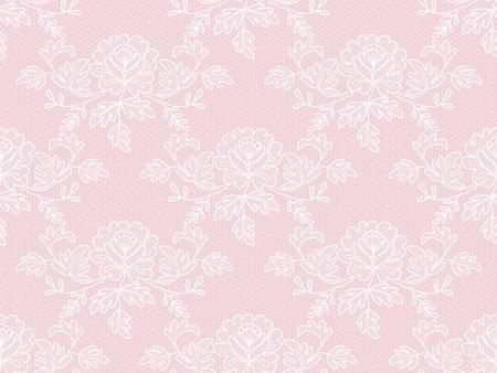 Bezszwowa biała kwiecista koronka na różowym tle